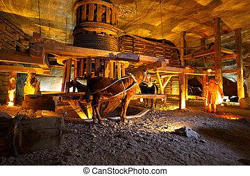 Wieliczka salt mine. - Wieliczka salt mine near Krakow in...