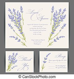 Wedding invitation card with purple lavender flower. Vintage...