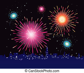 Fireworks display in the city - New Year in the city...