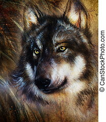 Wolf painting, color background on paper , multicolor...