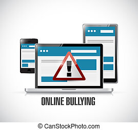online bullying web warning concept illustration design