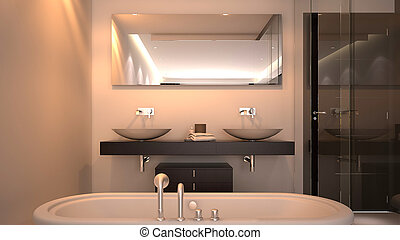 3d Render of Hotel Bathroom