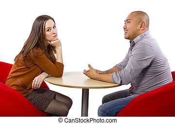 Boring Date - Interracial date that is boring and...