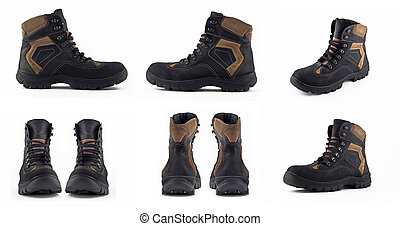 Collage of Warm leather winter boot
