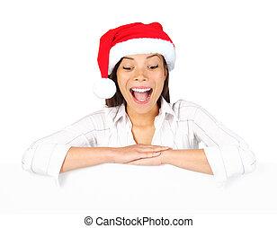 Christmas billbord sign woman