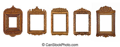 Collage of wooden carved Frames for picture or portrait