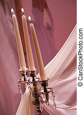 marriage - candles, decorations with vail on a wedding day