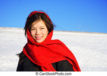 Winter woman with headscarf - Beautiful winter woman with...