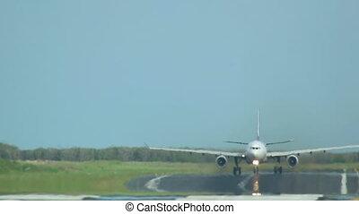 Take-off - Airplane take-off, long shot, International...