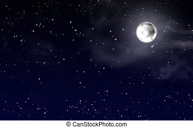 sky with stars and full moon - Night sky with stars and full...