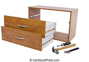 DIY - Building a shelf or drawer furniture on white...
