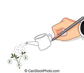 hand writing Money tree concept - vector illustration of...