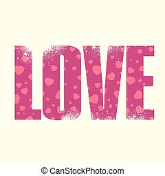 Love sign - Vector Love poster with double exposure effect