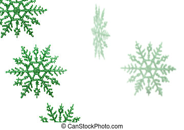 Green Snowflakes - Green snowflakes on a white background,...