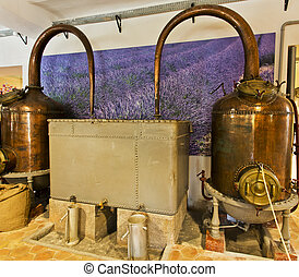 Alembics or stills in a perfume distillery - An alembic is...
