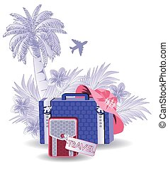 Summer travel congratulation card, vector illustration