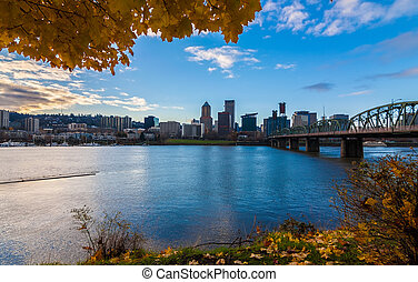 Portland, Oregon Waterfront - View of Portland, Oregon...