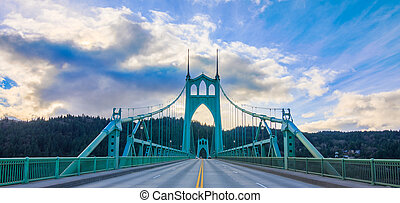 St Johns Bridge in Portland Oregon, USA - Beautiful Image of...