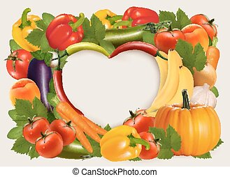 Heart shaped background made of vegetables and fruit Vector...