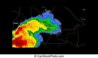 2011 Tuscaloosa, Alabama Tornado - Time Lapse Doppler Radar...