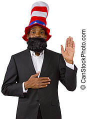 Uncle Sam - Black man playing as Uncle Sam American Mascot...