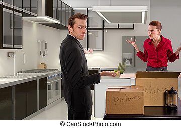 Break up and Move Out - young caucasian couple breaking up...