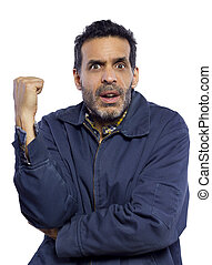 Unhappy Man Pointing - unhappy frustrated or confused male...
