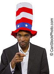 "Uncle Sam - Black man playing as ""Uncle Sam"" American Mascot..."
