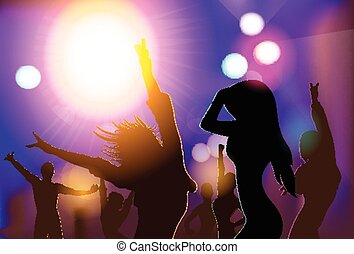 NIght Club People Crowd Dancing Silhouettes Party Vector...