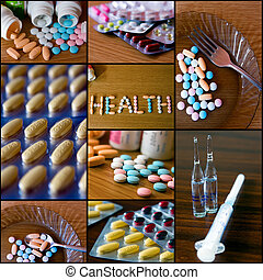 Medical Collage - 2 - medical collage separated with black...