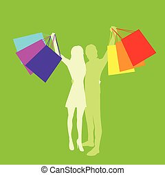 Shopping Couple Man and Woman Silhouette with Bags