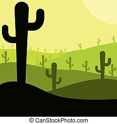 Mexican desert cactus scene in vector format.