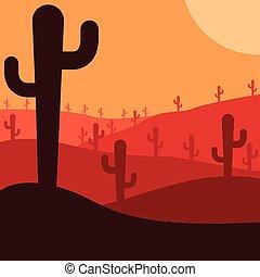 Mexican desert cactus scene in vector format