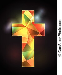 Stained Glass Christian Cross - An illustration of a...
