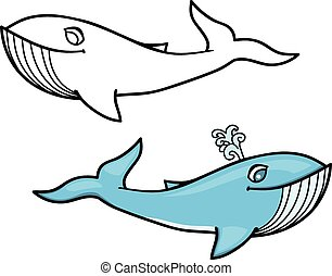 Whale Cartoon - Cartoon illustration of a whale. One with...