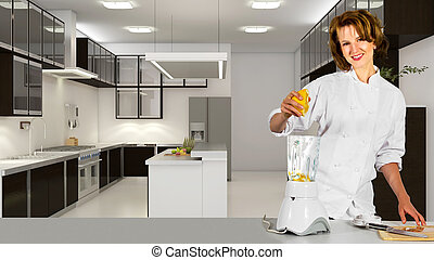 Chef Making Fruit Juice