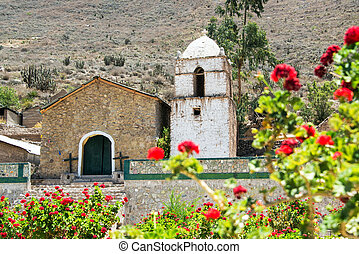 Colca Canyon Church - Old colonial church inside of the...