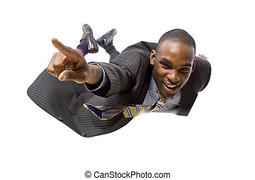 Skydiving Businessman - young african american businessman...