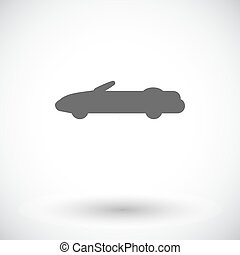 Convertible top down Single flat icon on white background...