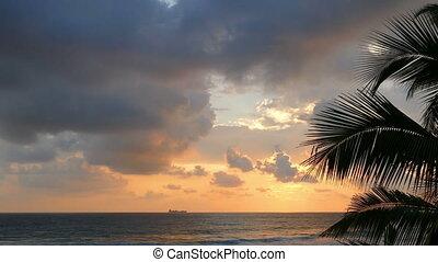 sea sunset and ship on horizon