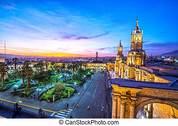 Arequipa Plaza at Night - Night falling on the Plaza de...