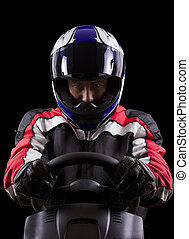 Red Racer - racerwearing red racing suit and blue helmet on...