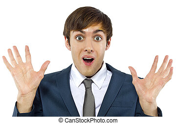 Businessman Mocking - young businessman with mocking gesture...