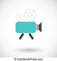 Videocamera Single flat icon on white background Vector...