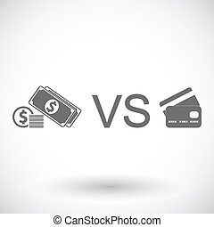 Cash vs card Single flat icon on white background Vector...