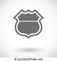 Road sign. Single flat icon on white background. Vector...