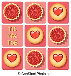 Tic-Tac-Toe of cookie and tart - Illustration of cookie and...