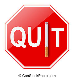 Quit smoking sign on white background