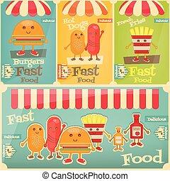 Fast Food Menu - Fast Food Posters Set Cartoon Fanny Fries,...