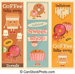 Cafe Sweet Shop Cartoon Posters Set - Funny Coffee, Donuts...
